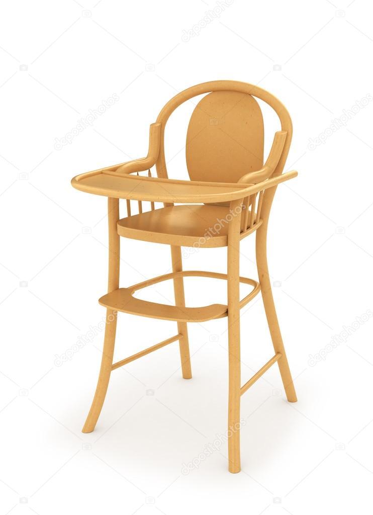 Houten Kinderstoel Wit.Houten Kinderstoel Voor De Baby Voeding Geisoleerd Op Wit 3d Afb