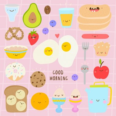 Super cute set of Breakfast icons