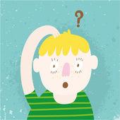 Fotografie süsser überrascht Boy-Cartoon. kleiner Junge mit überrascht Gesicht