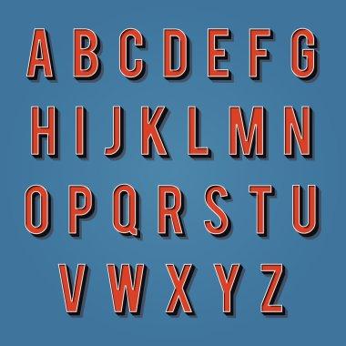 Vintage alphabet. Retro type font. 3d letters.