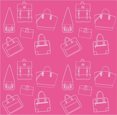 Seamless pink pattern with bags.