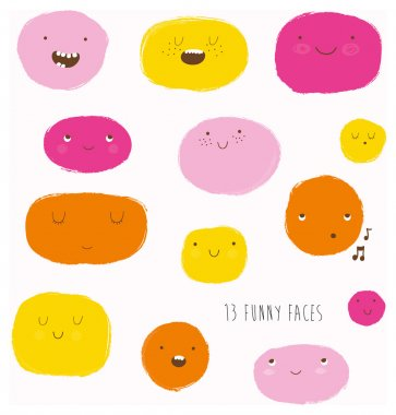 Funny happy smiley faces.