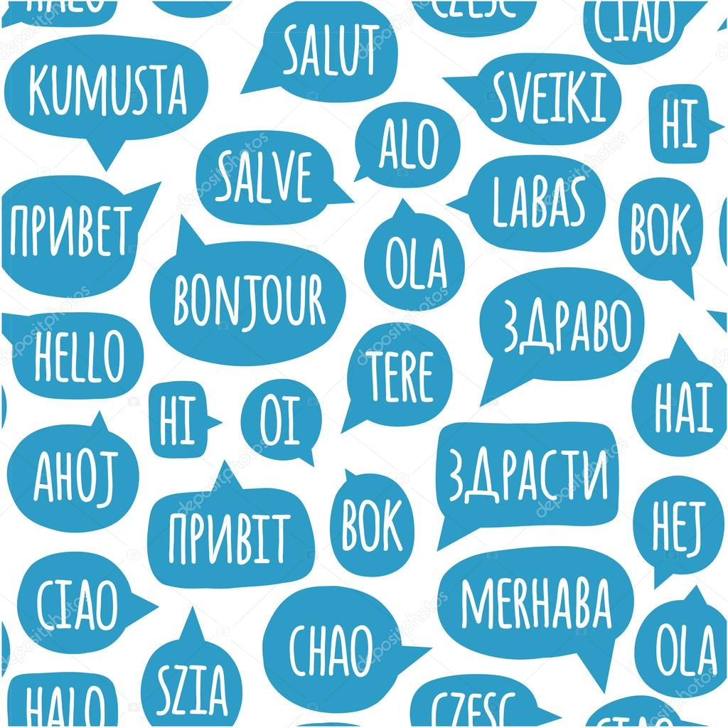 Seamless pattern with speech bubbles with the word hello in