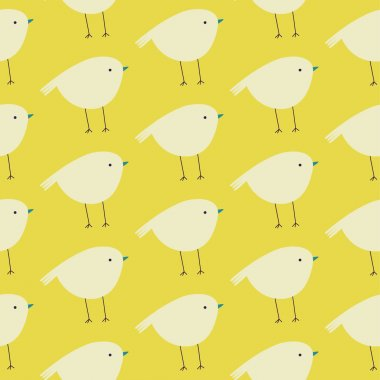 Cute seamless pattern with birds in pastel colors. Lovely birds background in cartoon style. Cute background for kids clip art vector