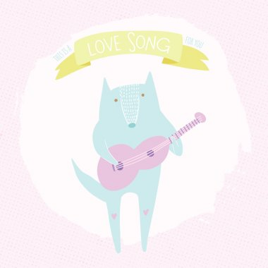 Cute concept illustration with wolf and guitar. Romantic love song illustration. Cartoon animal love card. stock vector