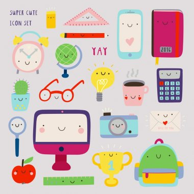 Super cute set of Education icons