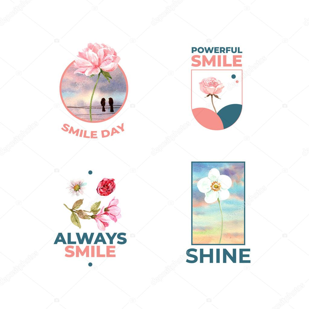 Logo with flowers bouquet design for world smile day concept to branding and marketing watercolor vector illustraion icon