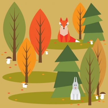 Autumn abstract  cartoon  forest background with funny geometric animals