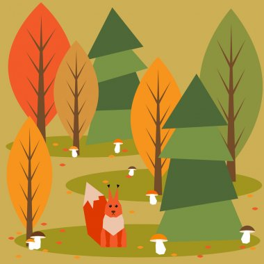Autumn abstract vector forest cartoon background with geometric animals