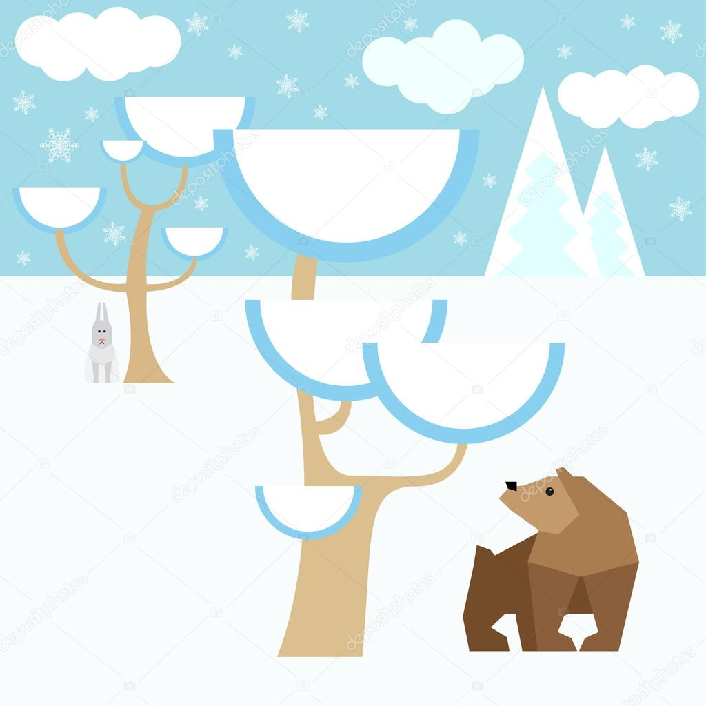 Winter cartoon vector background with animals and snow forest for use in design for card, invitation, poster, banner, placard or billboard cover