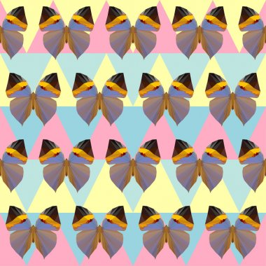 Polygonal abstract geometric butterfly seamless pattern background