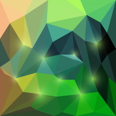 Abstract vector compound triangular geometric background with glaring lights