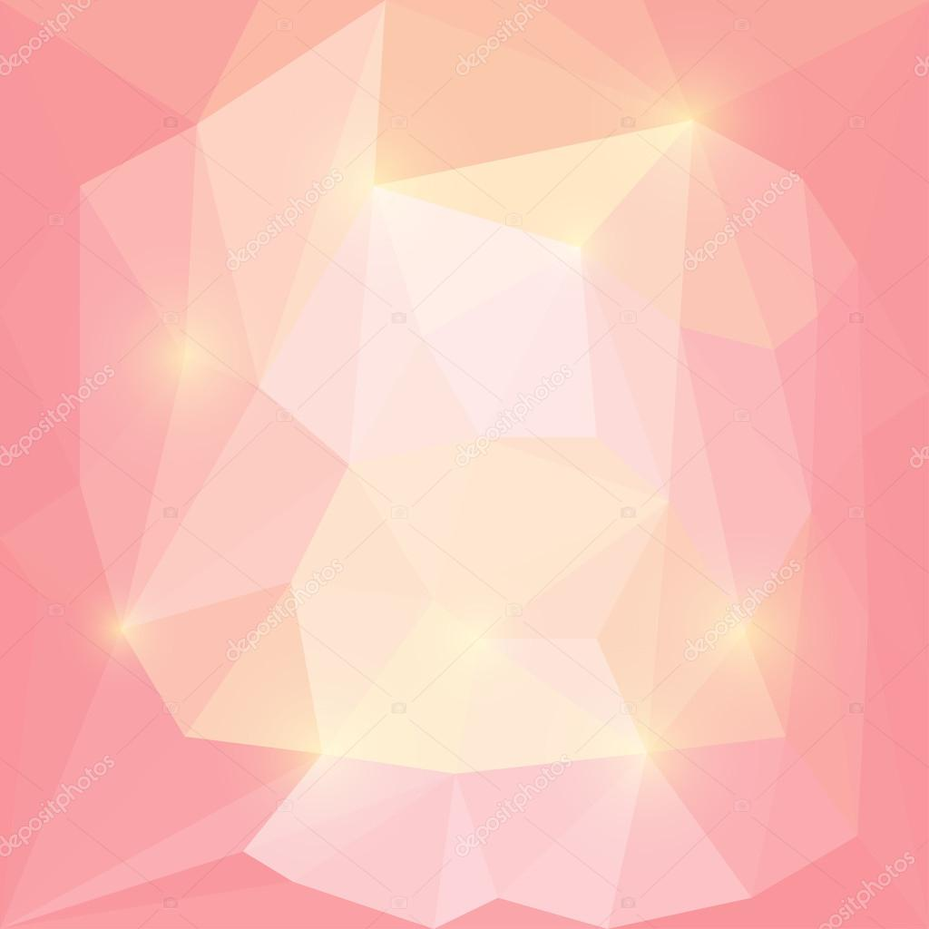 Abstract bright pink and yellow colored vector triangular geometric background with glaring lights