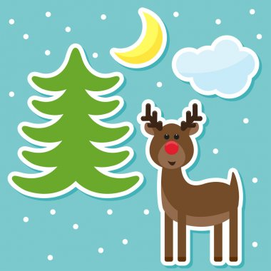 Winter holidays background with funny cartoon deer from sledding Santa Claus, drawing snowflakes, moon and fir on a blue cover