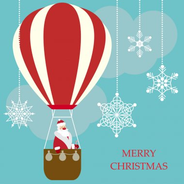 Funny cartoon winter holidays greeting card with Santa Claus flying in a hot air balloon on a bright blue sky cover with snowflakes