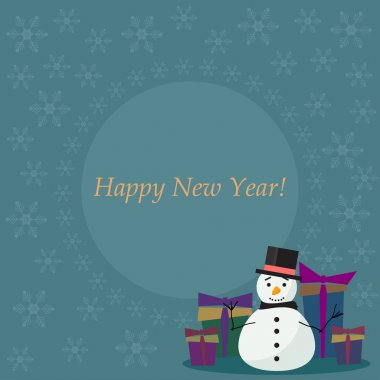 Winter holiday card  background with cute fanny snowman, soft colored snowflakes and  gifts