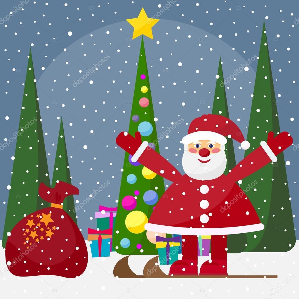 Vacances d 39 hiver fond avec mignon dr le cartoon p re no l avec sapin avec boules en verre - Sapin avec cadeaux ...