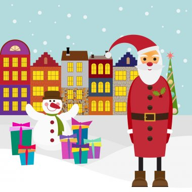Winter holiday picture for greeting cards with cartoon Santa coming to town with gifts and funny snowman