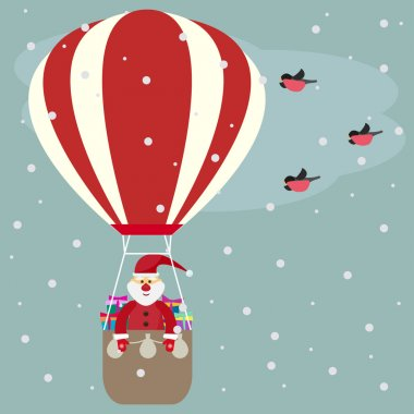 Funny cartoon winter holidays greeting card with Santa Claus flying in a hot air balloon and bullfinch