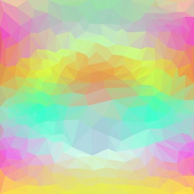 Abstract polygonal triangular basic background for use in design with a luminous circle among bright colors