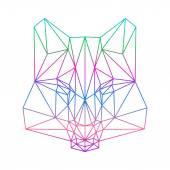 Fotografia sagoma poligonale lupo astratta disegnata in una linea continua