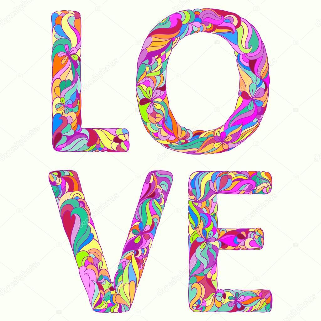 Ilustracion Con La Palabra Mano Dibujo Brillante Amor Color