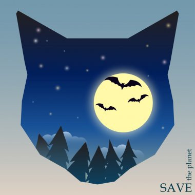 Conceptual illustration on the theme of protection of nature and animals with night forest with bats and moon in silhouette of cat head for use in design for card, invitation, poster or placard