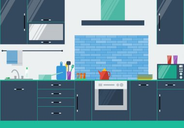 Illustration in trendy flat style colors with kitchen interior for use in design