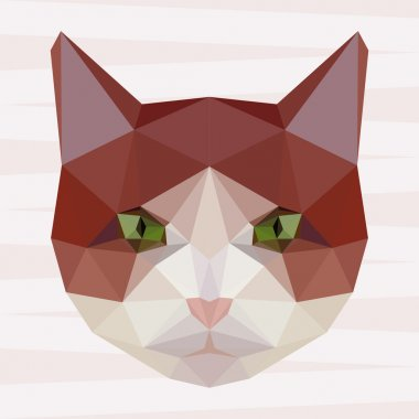 Abstract polygonal geometric cat portrait background for use in design for card, invitation, poster, banner, placard or billboard cover.