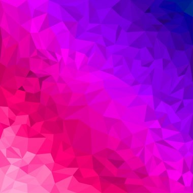 Abstract bright purple and scarlet colored polygonal triangular background for use in design for card, invitation, poster, banner, placard or billboard cover