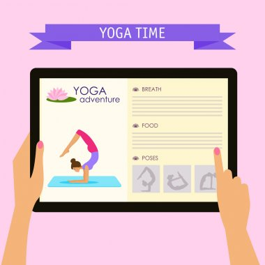 Practice of yoga theme. Conceptual illustration with hands holding digital tablet and pointing on screen with website about yoga adventure, isolated on soft pink colored background with slogan