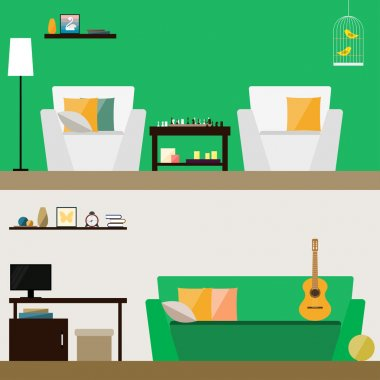 Illustration in trendy flat style with room interior isolated on stylish bright green and soft beige cover for use in design for for card, invitation, poster, banner, placard or billboard background
