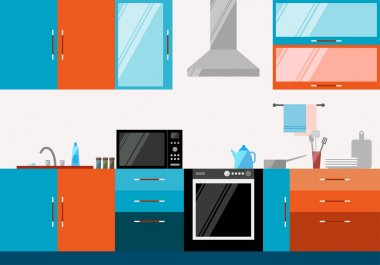 Kitchen interior. Illustration in trendy flat style for design.