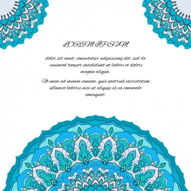 Blue hand-drawing ornamental abstract lace background with many details for use in design for card, invitation or banner cover