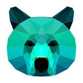 Fotografie Abstrakte Bär Kopf. Polygonale geometrischen Dreieck hell isoliert auf weißem Hintergrund