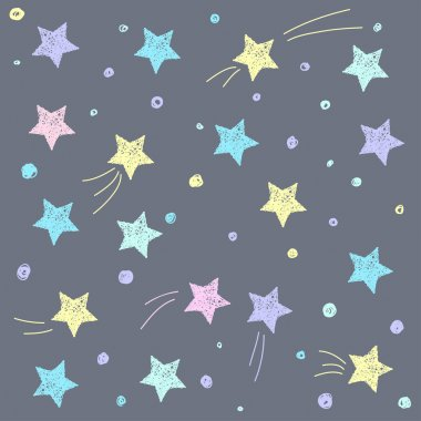 Hand drawn doodle stars pattern background.