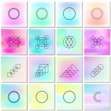 Abstract bright backgrounds with outlines of shapes.