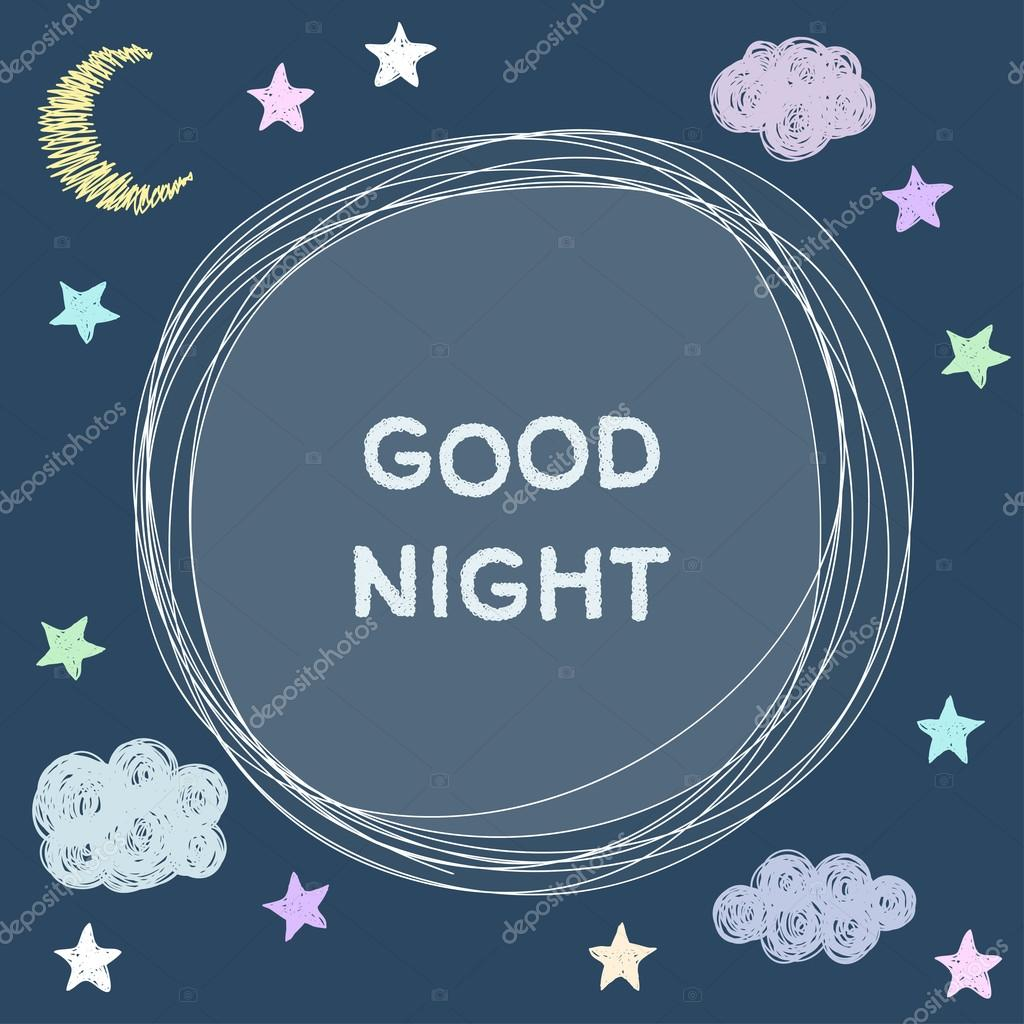Doodle good night card background template