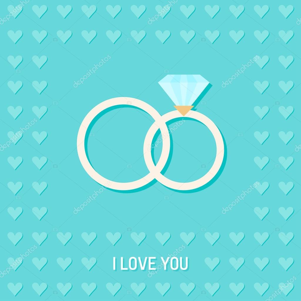 Hochzeit Romantisch Dekorativen Hintergrund Mit Cartoon Ringe