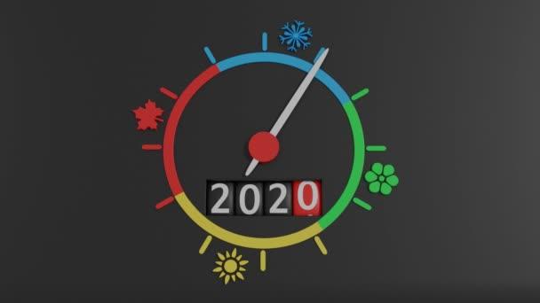 Rotační ukazatel běží celý kruh čtyř ročních období segmentů s ikonami: zimní sněhová vločka, jaro - květina, letní slunce, podzimní javorový list. Dole je proti tomu, že změna čísla 2020 do roku 2021.
