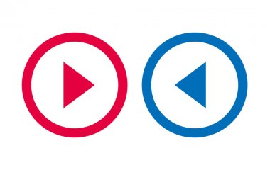 Icon Arrow Line Design Red And Blue Vector icon