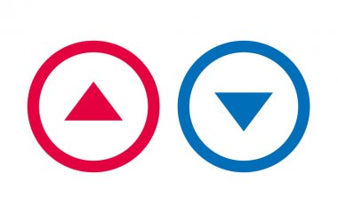 Icon Arrow Line Design Up Down Red And Blue Vector icon