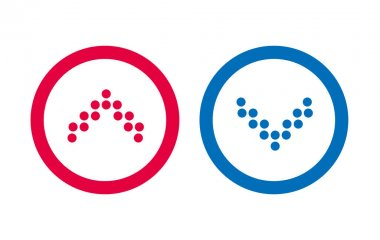 Design Icon Line BLue And Red Arrow icon