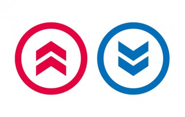 Design BLue And Red Up Down Arrow Icon icon