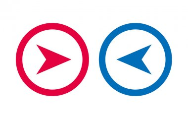Design Arrow Icon BLue And Red Line icon