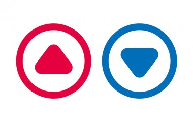 Arrow Up Down Icon Play BLue And Red Line Design icon