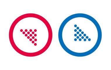 Design Arrow Icon Line Red And Blue Vector icon