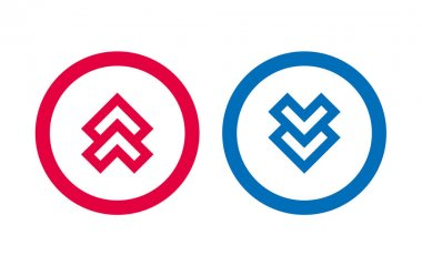 Arrow Up Down Icon BLue And Red Line Design icon