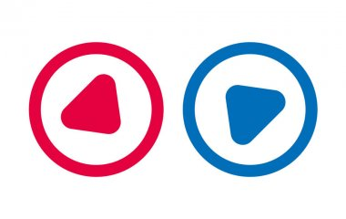 Arrow Play Icon Line Design Red And Blue icon