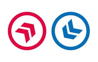 Arrow Line Icon Design Red And Blue Design icon